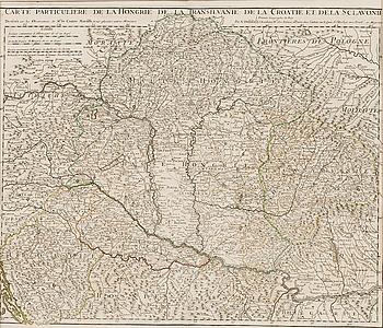 """KARTA, kopparstick, """"Carte Particuliere de la Hongrie de la Transilvanie de la Croatie et de la Sclavonie. Dated 1717.""""."""