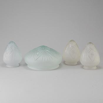 LAMPKUPOR, 4 stycken, glas, 1900-talets början.