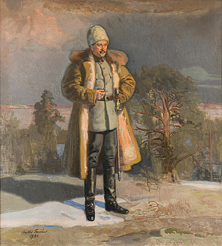 MANNERHEIM WATCHING THE SIEGE OF TAMPERE FROM THE CLIFFS OF VEHMAINEN.