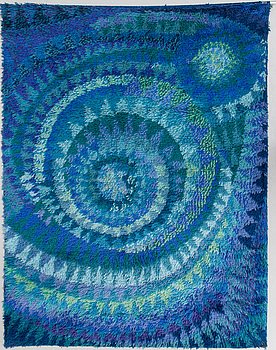 """MARJATTA METSOVAARA, ryamatta, """"Blue Seashell"""" Oy Finnrya Ab. Ca 176x136 cm."""