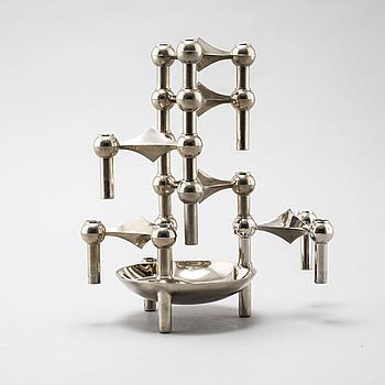 CEASAR STOFFI & FRITZ NAGEL, ljusstakar, 6 stycken, samt skål, vitmetall, BMF, Tyskland, 1900-tal, Nagel, Tyskland.