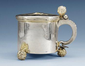 789. A SWEDISH PARCEL-GILT TANKARD, Makers mark of Arvid Falck, Stockholm (1667-1691).