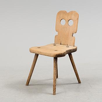 STOL, så kallad fäbodstol, allmoge, 1800-tal.