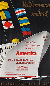 AFFISCH, Svenska Amerika Linien, 1965.