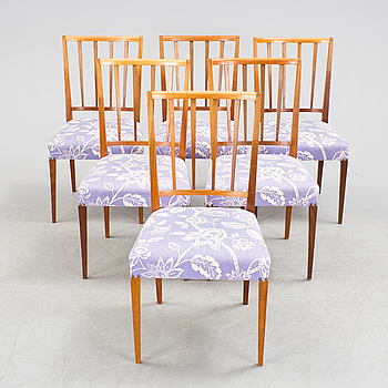 JOSEF FRANK, A set of six model 815 mahogany chairs by Josef Frank for Firma Svenskt Tenn.