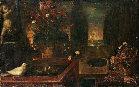 Abate andrea belvedere hans art, stilleben med blommor och fåglar vid en fontän