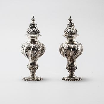 SOCKERRUSKOR, ett par, silver, London, 1899. Vikt 358 g.