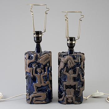 BORDSLAMPOR, ett par, keramik, 1970-tal.