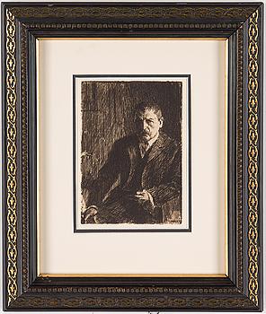 """ANDERS ZORN, etsning, """"Självporträtt 1904I""""."""