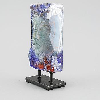 BJÖRN EKEGREN, skulptur i sandgjutet glas, unik, signerad.