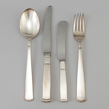 "GULDSMEDSAKTIEBOLAGET (GAB), bestickservis, 20 delar, silver, ""Rosenholm"", Stockholm. 1900-talets andra hälft."