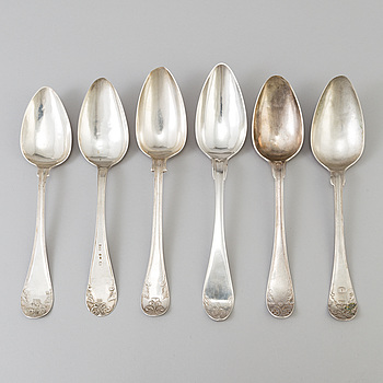 Six Swedish dinner spoons from the 19th century. Weight ca 311 grams.