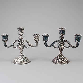KANDELABRAR, ett par, silver, rokoko-stil, GGP, 1943.