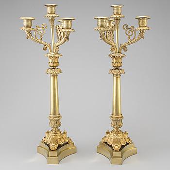 KANDELABRAR, ett par, brons, senempire, 1800-talets senare del.