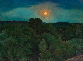 "279. KARL NORDSTRÖM, ""Månuppgång i Bellevueparken"" (The Bellevue park by moonlight)."