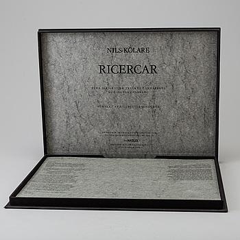"""NILS KÖLARE, """"Ricercar"""", mapp med 4 serigrafier tryckta av Ingvar Landberg, nr A.P. V/IX, signerad o daterad -86."""