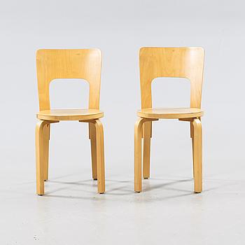 ALVAR AALTO, stolar, 2 st, modell 66, Artek, 1900-talets andra hälft.