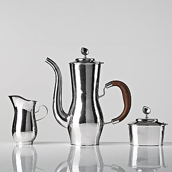104. Sigurd Persson, a three pieces sterling coffee service, Stockholm 1949--50, executed by Olle Kvist.