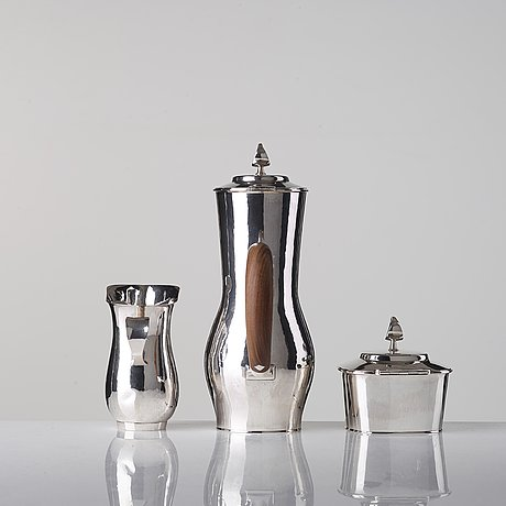 Sigurd persson, a three pieces sterling coffee service, stockholm 1949--50, executed by olle kvist.