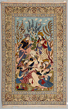 MATTA, old Isfahan, figural part silk,  ca 236 x 147 cm.
