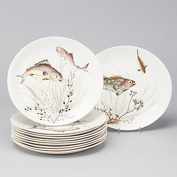 """SERVISDELAR, 11 st, flintgods, """"Fish"""", Johnson Bros, England, 1900-talets andra hälft."""