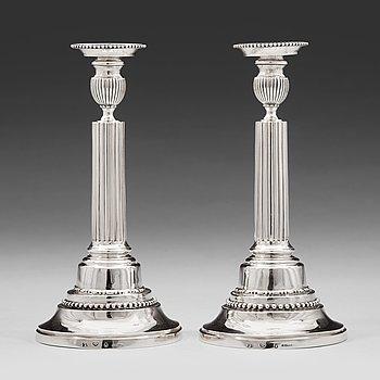 211. A pair of Swedish 18th century silver candlesticks, mark of Johan Ekholm, Stockholm 1788.
