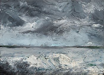 "295. AUGUST STRINDBERG, ""Packis i stranden"" (Ice boulders on the shore)."