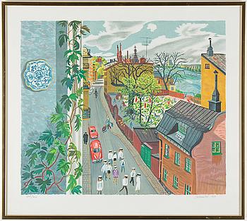 MONA HUSS WALLIN, färglitografi, signerad M Huss W, daterad 1989 och numrerad 235/410 med blyerts.