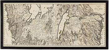 """KARTA, Samuel Gustaf Hermelin, """"Petrografisk karta öfver en del av Göta Rike"""", 1804."""