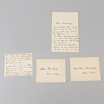 AUGUST STRINDBERG, A set of two post cards with autograph by August Strindberg.