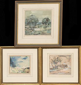 """HUGO CARLBERG, 3 st, akvareller, en signerad HC, """"Utanför Bjerred""""."""