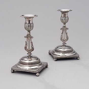LJUSSTAKAR ETT PAR, silver, Wilhelm Fahlström 1818-1828, Helsingfors.