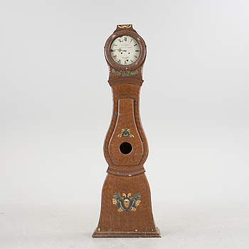 A pinted pine longcase clock from Medelpad, dated 1861.