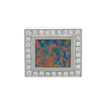 HALSSMYCKE, opal, briljantslipade diamanter, 18K vitguld.