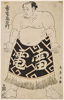 """KATSUKAWA SHUNTEI (1770-1820), färgträsnitt. Japan, 1790. """"Raiden Tameemon""""."""