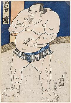 """UTAGAWA KUNISADA, även kallad Toyokuni III (1786-1864). färgträsnitt. Japan, 1843. """"Itadaki""""."""