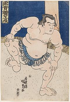 "UTAGAWA KUNISADA, även kallad Toyokuni III (1786-1864). färgträsnitt. Japan, omkring 1830. ""Washygayama""."