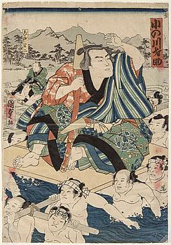"""UTAGAWA KUNISADA II (1823-1880), färgträsnitt. Japan, 1862. """"Onogawa Saisuke""""."""