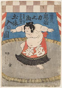 "UTAGAWA YOSHITUYA (1822-1866), färgträsnitt. Japan, omkring 1850. ""Oniwaka""."