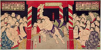 "HASEGAWA SANAOBU (1810-78), triptyk, färgträsnitt. Japan, Meiji (1868-1912). ""Umegatani vs Hibirya""."