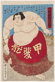 """UTAGAWA KUNIAKI (1835-1888). Färgräsnitt, Japan, 1887. """"Sumobrottaren Kaidyo (seki) Taro, 15 år""""."""