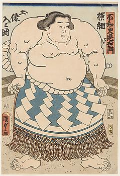 """KUNISADA II (1823-1880), två stycken, färgträsnitt. Japan, 1860. """"Shiranui Mitsuemon""""."""