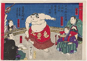 "UTAGAWA KUNIAKI (1835-88), färgträsnitt. Japan, 1880-tal. ""Sumobrottaren Kidomaru""-."