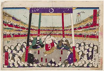 "UTAGAWA KUNIAKI II (1835-1888), färgträsnitt. Japan, 1878. ""The Bow Dance""."