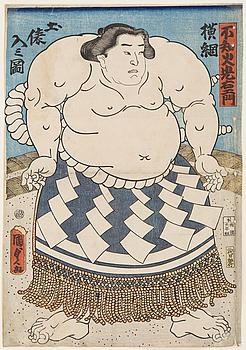 "UTAGAWA KUNISADA, (1786-1864), färgträsnitt. Japan, 1850-tal. ""Shiranui Mitsuemon""."
