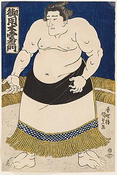 """UTAGAWA KUNISADA, (1786-1864), färgträsnitt. Japan, 1840-tal. """"Goyogi Kumoemon""""."""
