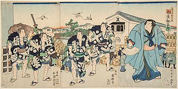 """UTAGAWA KUNITERU (1808-76), triptyk, färgträsnitt. Japan, 1869. """"Sumo brottaren Aioi""""."""