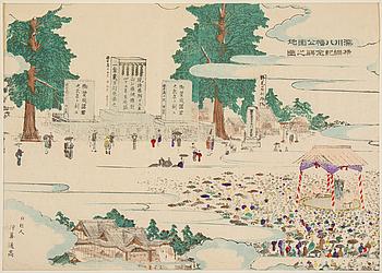 "JINMAKU, färgträsnitt. Japan, 1895. ""Fukugawa Hachimon Shrine""."