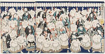Utagawa Kunitsuna (1805-1868), triptyk, färgträsnitt. Japan, 1860. 'Kända sumobottare'.