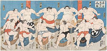 """UTAGAWA KUNISADA, även kallad Toyokuni III (1786-1864), triptyk, färgträsnitt. Japan, 1845. """"Dohyoiri""""."""